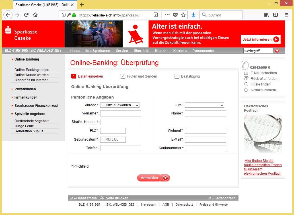 wichtiger hinweis von sparkasse geseke sparkase1 ist phishing vorsicht e mail. Black Bedroom Furniture Sets. Home Design Ideas