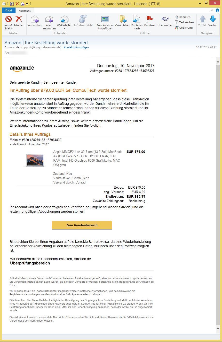 Amazon Ihre Bestellung Wurde Storniert