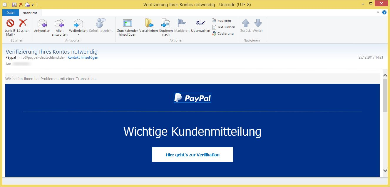 paypal phishing verifizierung ihres kontos notwendig von. Black Bedroom Furniture Sets. Home Design Ideas