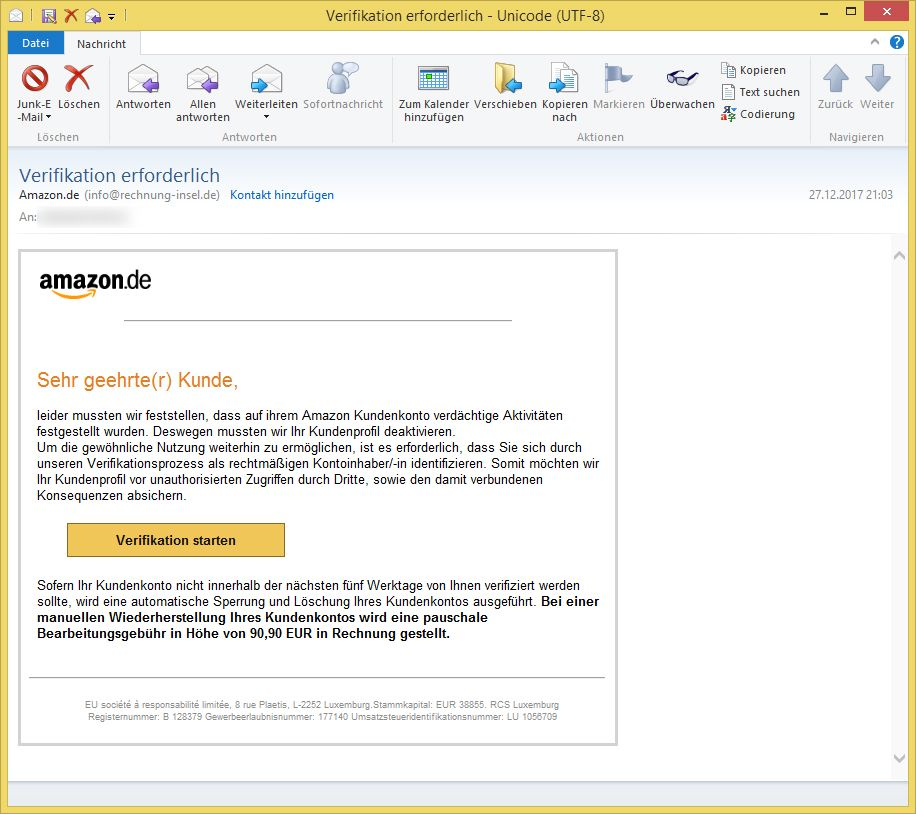 amazon phishing verifikation erforderlich von info rechnung vorsicht e mail. Black Bedroom Furniture Sets. Home Design Ideas
