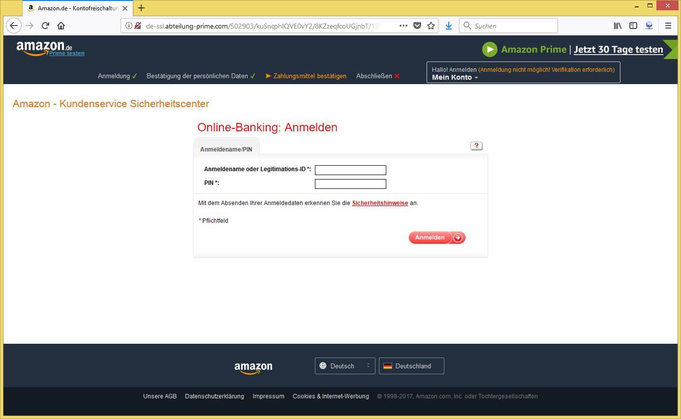 amazon phishing verifikation erforderlich von. Black Bedroom Furniture Sets. Home Design Ideas