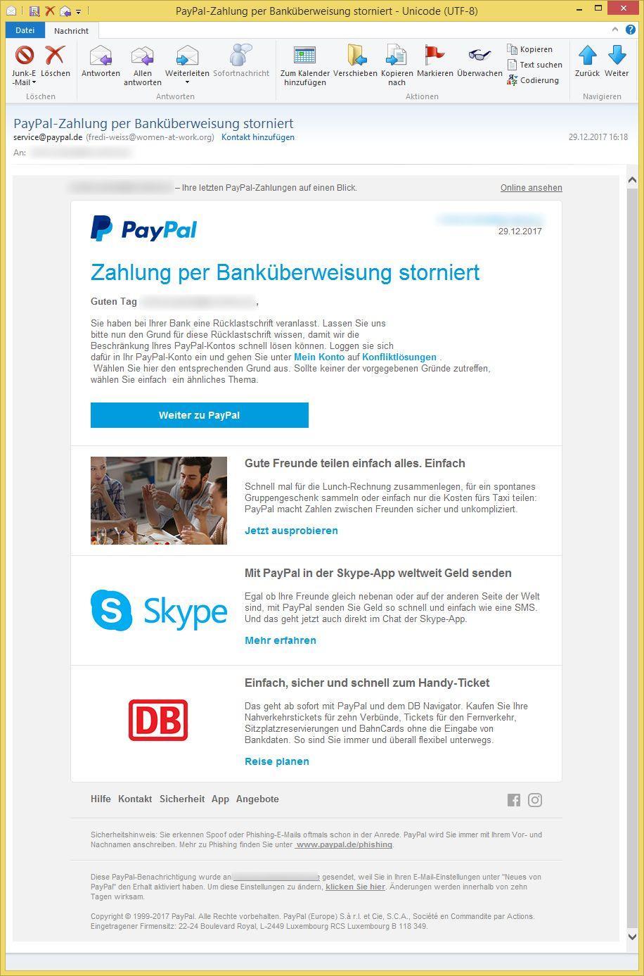 Paypal Zahlung Storniert