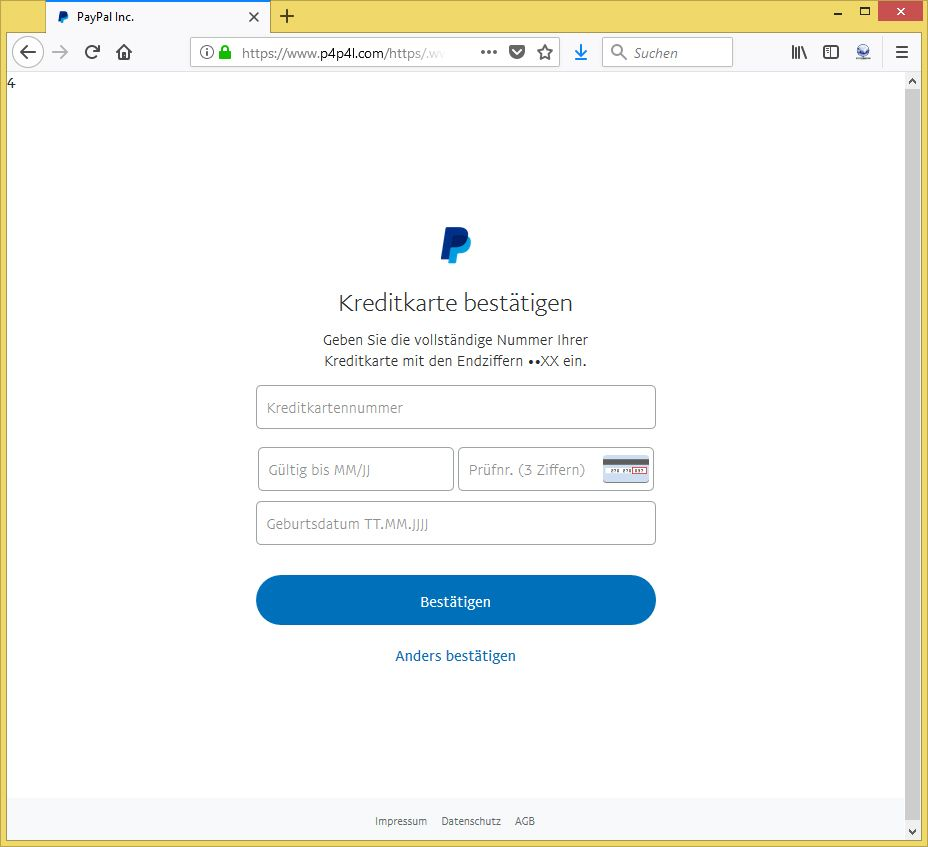 Sicherheitsüberprüfung Paypal