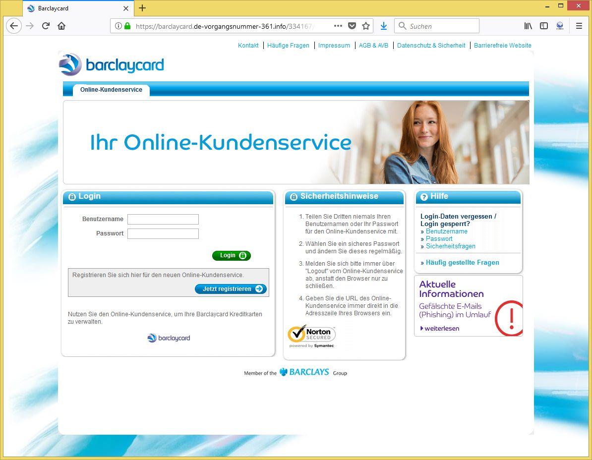 Barclaycard-Phishing: Nachricht von Ihrem Online ...