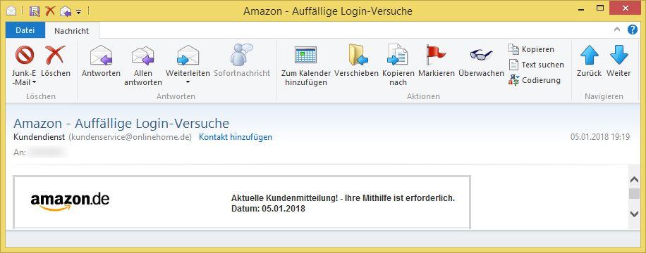 Email Amazon Sicherheitsprüfung
