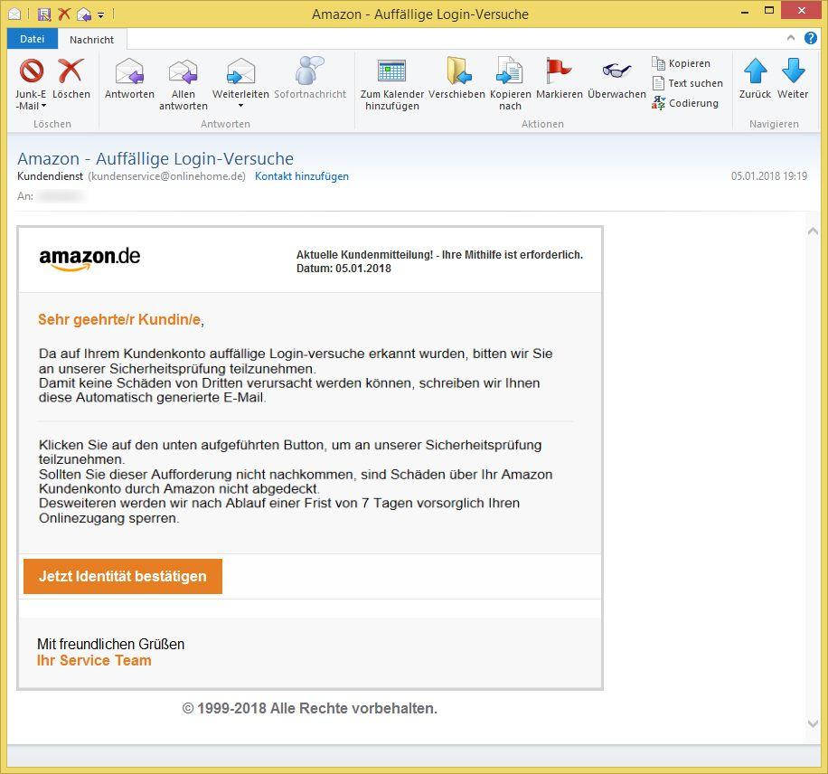 Amazon Auff 228 Llige Login Versuche Von Kundendienst