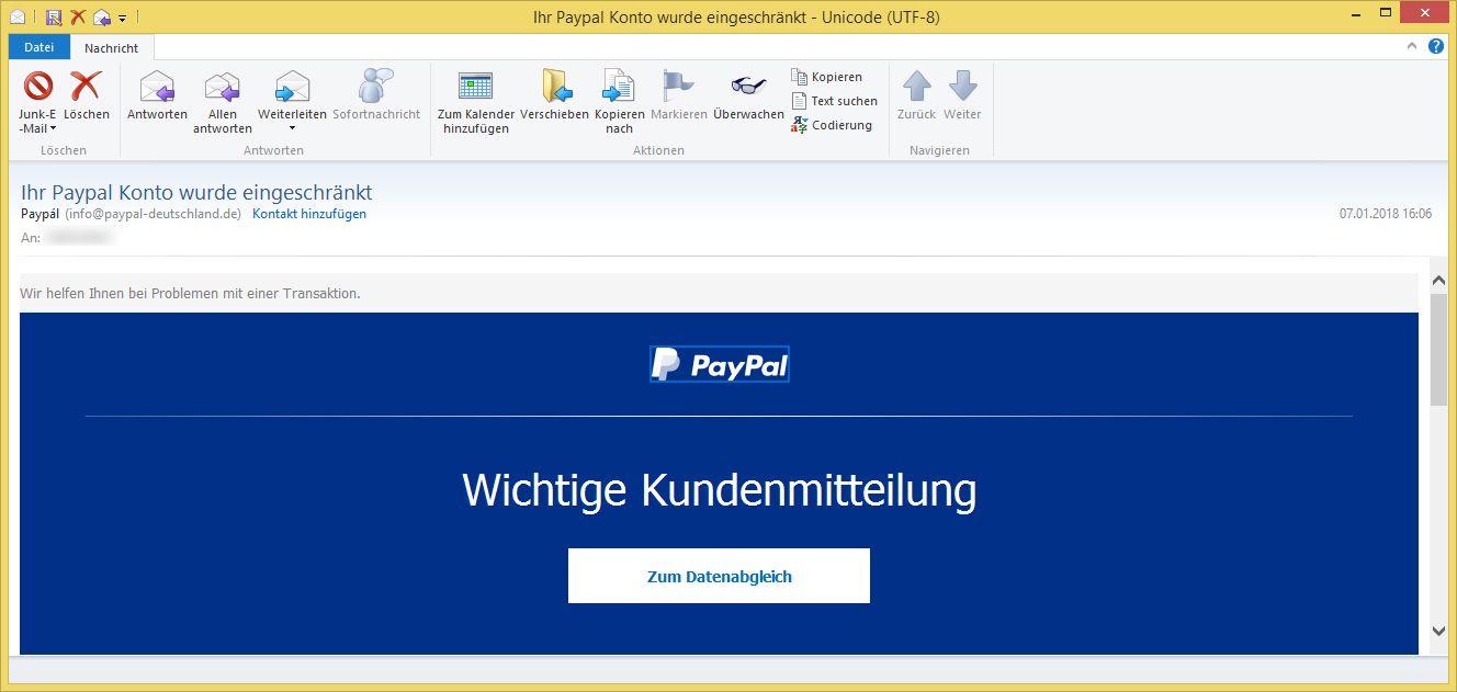 Ihr Paypal Konto Wurde Eingeschränkt
