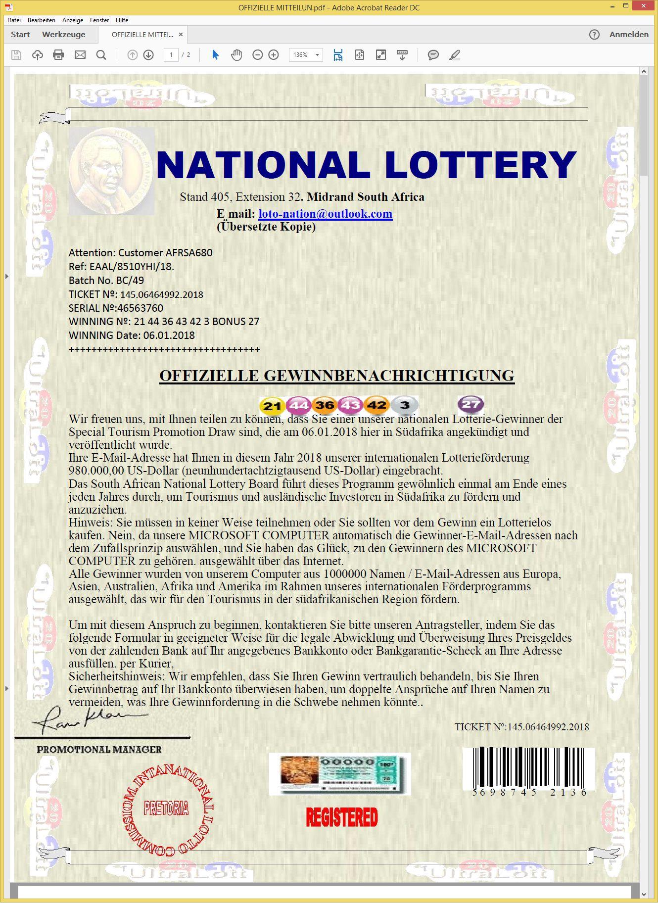 Lotto Gewinnbenachrichtigung Per Mail