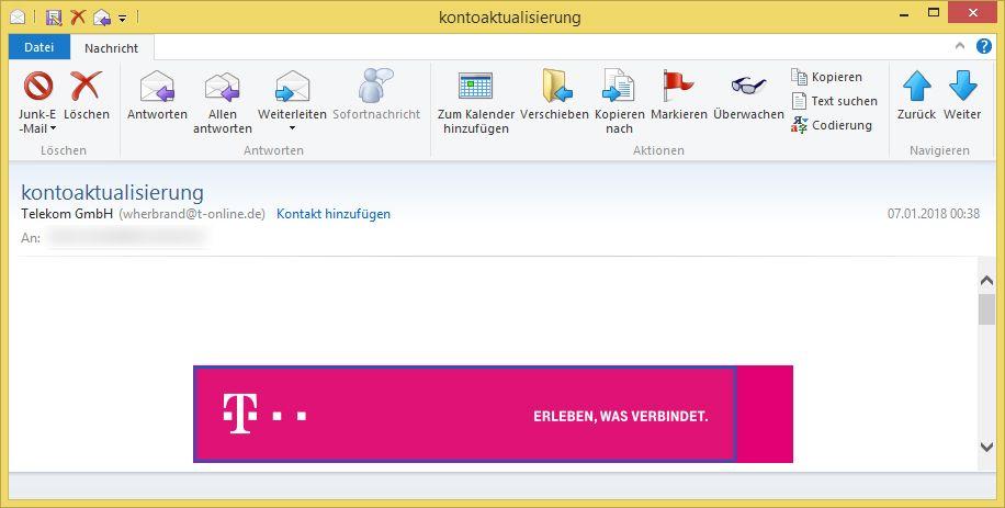 Kontoaktualisierung Von Telekom Gmbh Wherbrand T Online