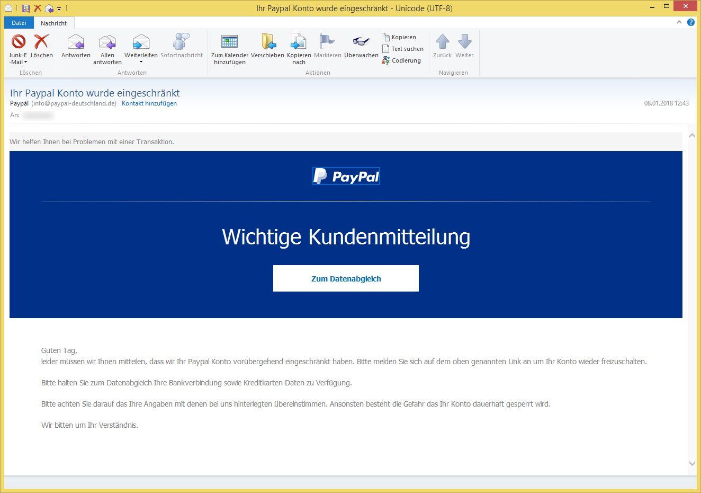 paypal konto wurde eingeschränkt