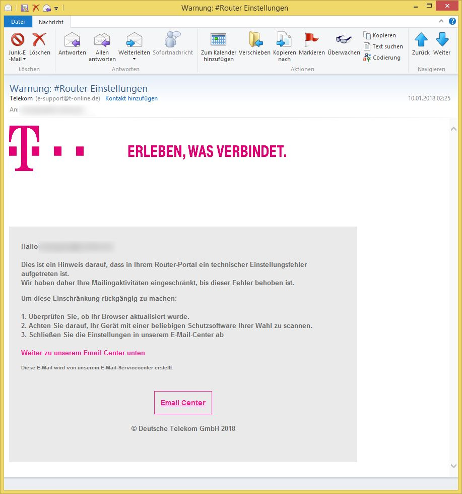 Warnung Router Einstellungen Von Telekom E Support At T Onlinede