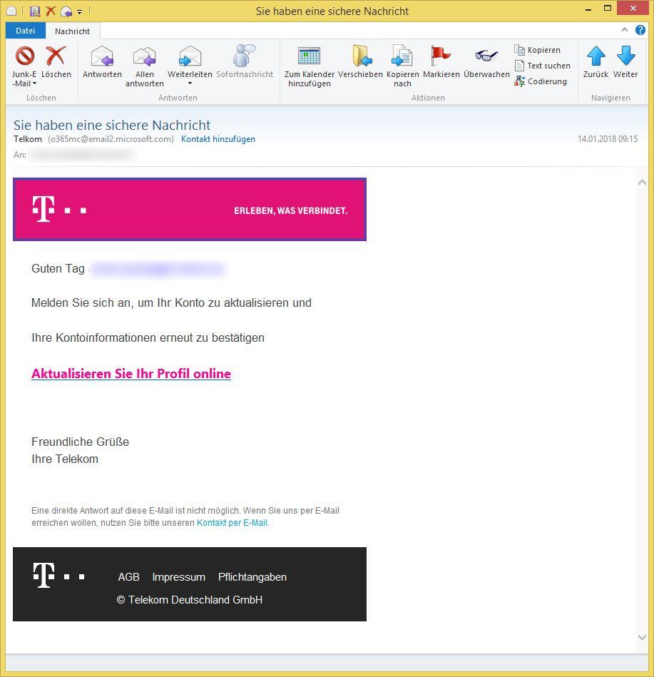 phishing sie haben eine sichere nachricht von telkom. Black Bedroom Furniture Sets. Home Design Ideas