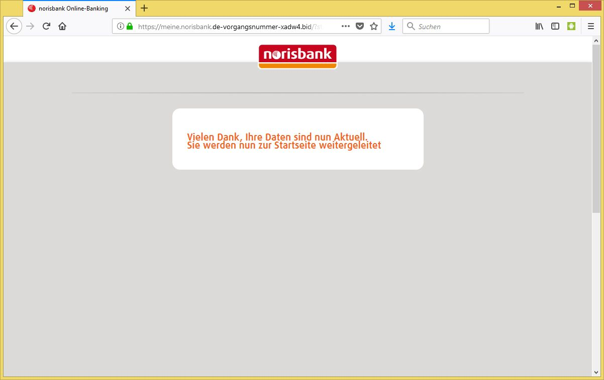 aktivierung des pushtan verfahrens von norisbank info ist phishing. Black Bedroom Furniture Sets. Home Design Ideas
