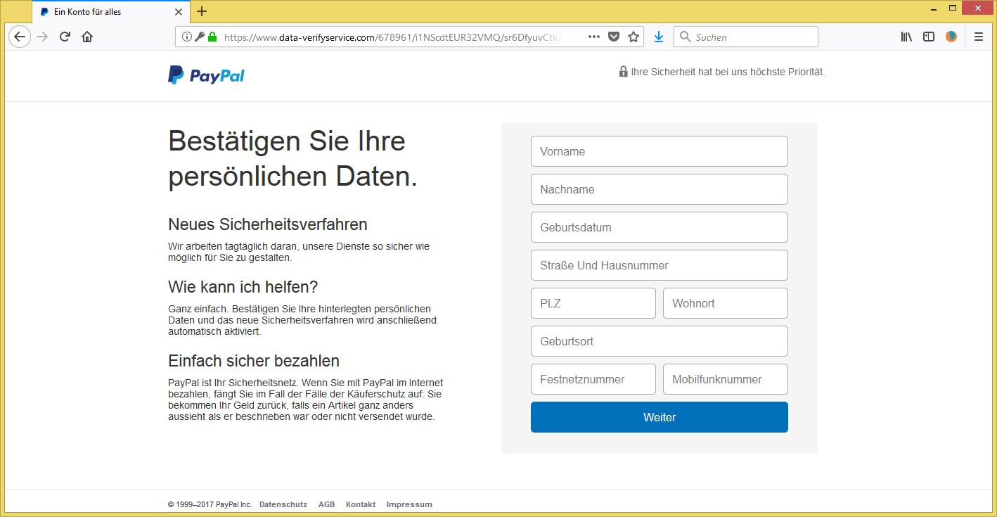 paypal phishing ihr p ypal konto wurde eingeschr nkt von payp l service vorsicht. Black Bedroom Furniture Sets. Home Design Ideas