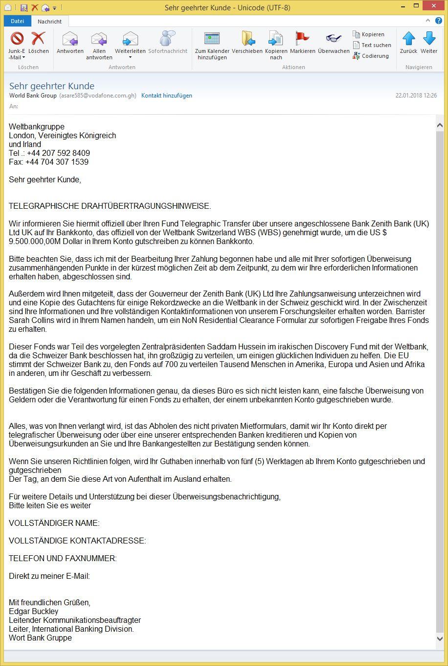 Sehr Geehrter Kunde Von World Bank Group Asare585 Vodafone Com Gh