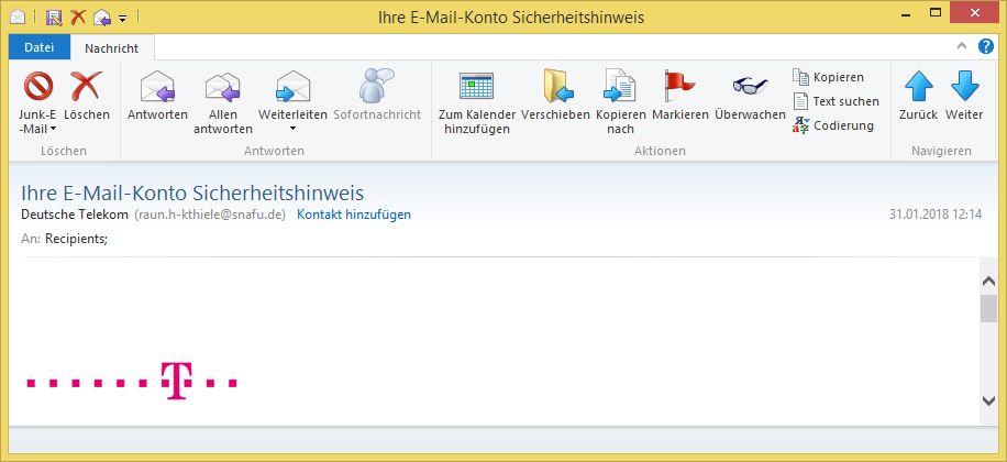 Ihre E Mail Konto Sicherheitshinweis Von Deutsche Telekom