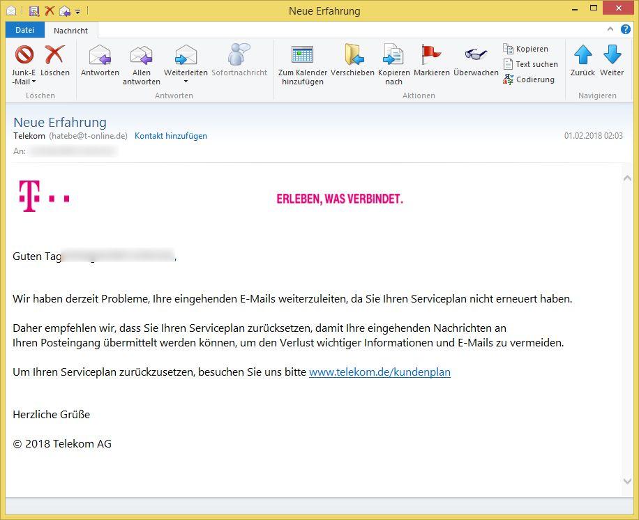 Telekom-Phishing: Neue Erfahrung von Telekom (hatebe@t-online.de ...