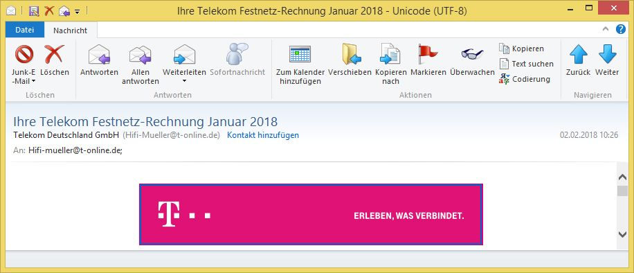 ihre telekom festnetz rechnung januar 2018 von telekom. Black Bedroom Furniture Sets. Home Design Ideas