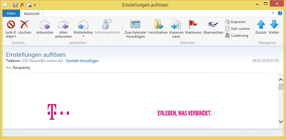 einstellungen aufl sen von telekom ok reisen t ist phishing vorsicht e mail. Black Bedroom Furniture Sets. Home Design Ideas