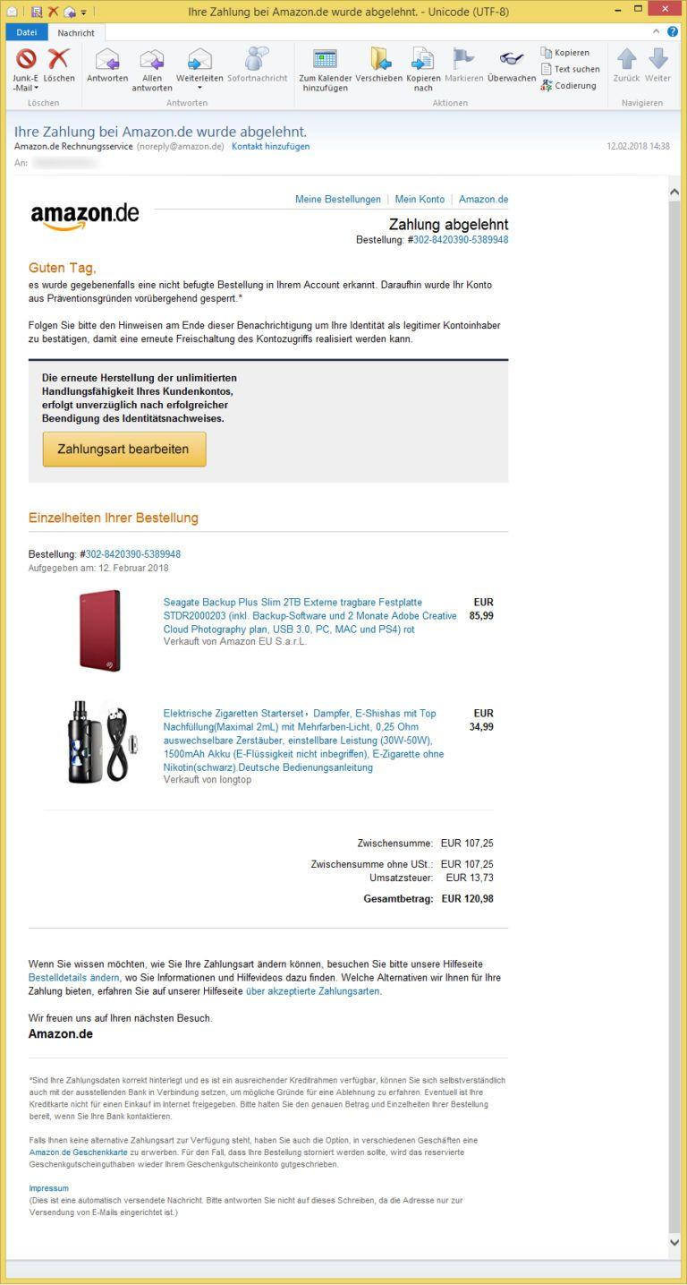 Ihre Zahlung bei Amazon.de wurde abgelehnt. von Amazon.de