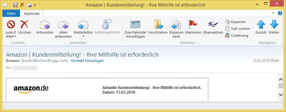 Amazon Mithilfe Erforderlich