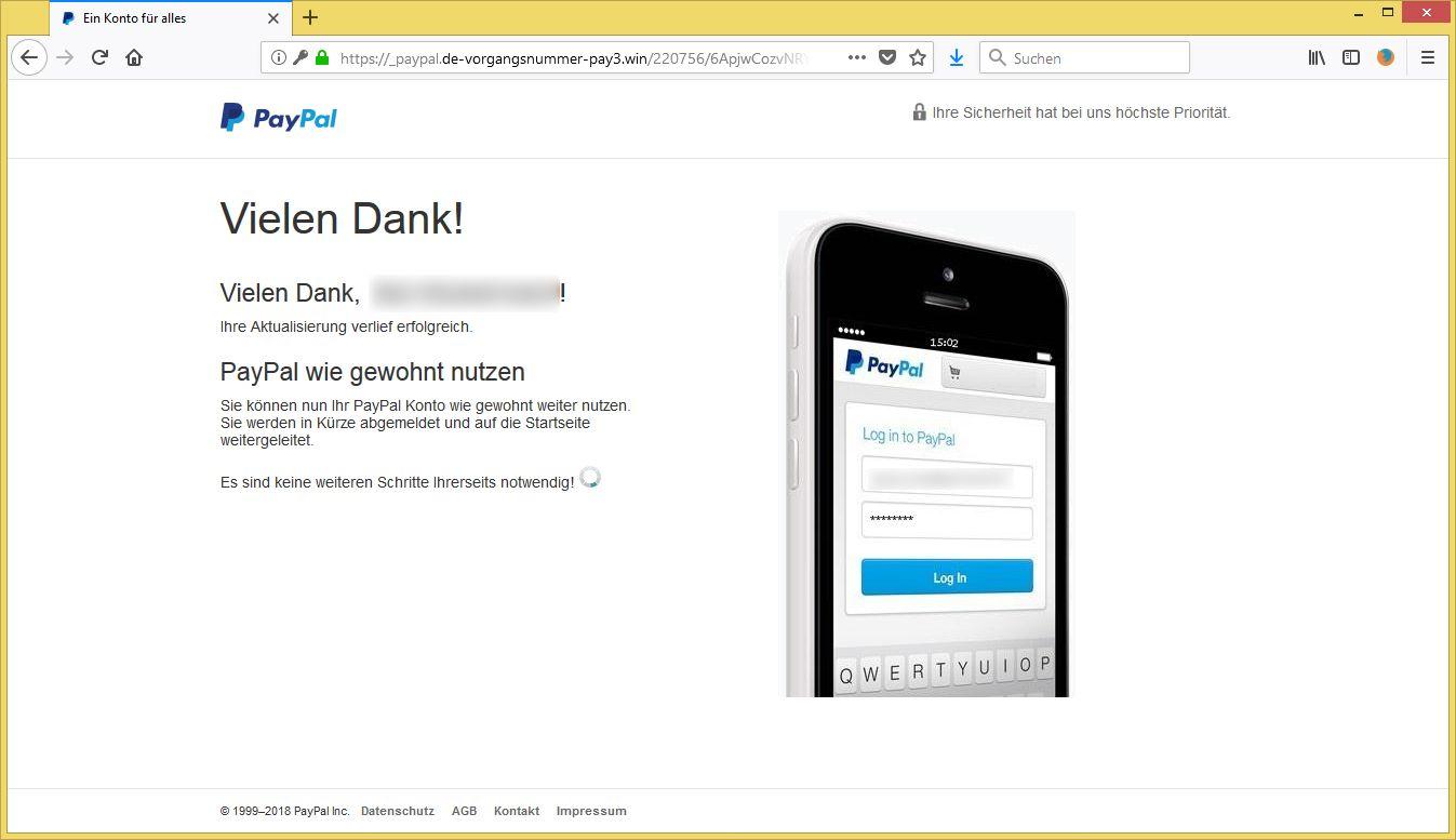 Paypal Betrügerische Mail