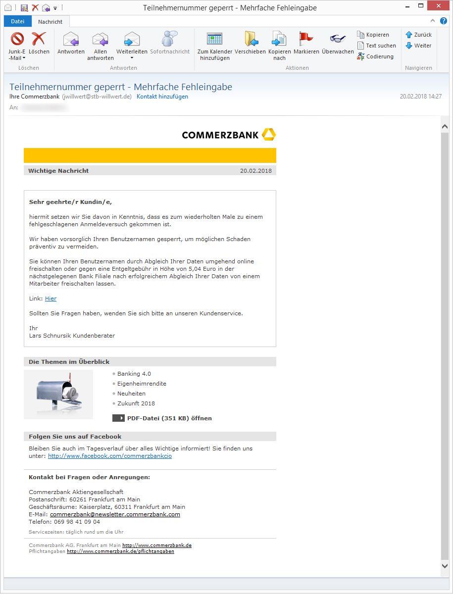 Commerzbank Wochenlimit Гјberschritten