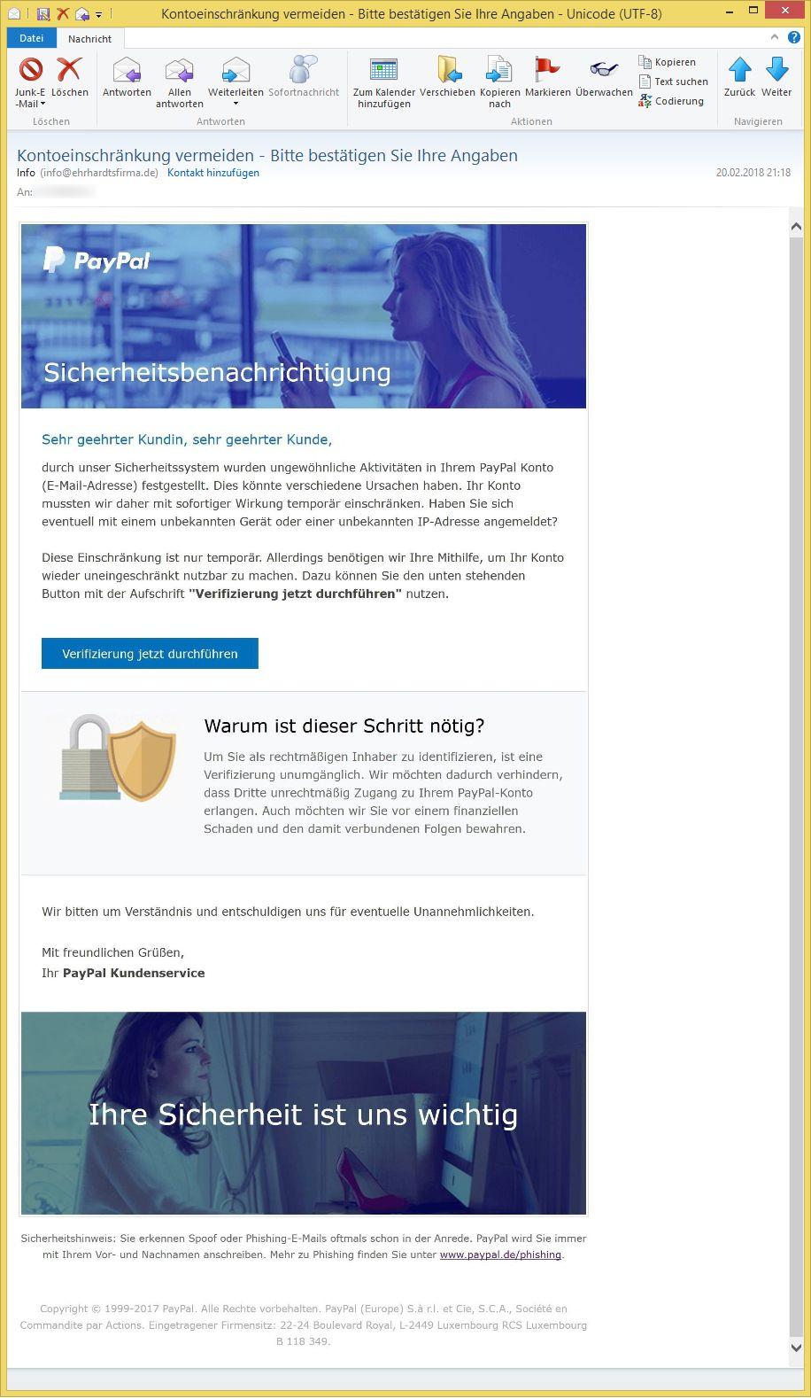 Kontoeinschränkung Paypal