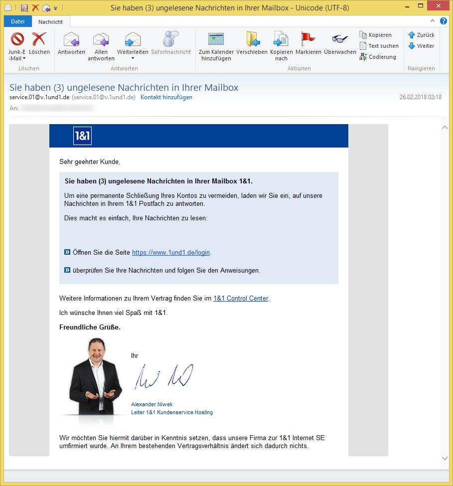 Sie Haben (3) Ungelesene Nachrichten In Ihrer Mailbox Von