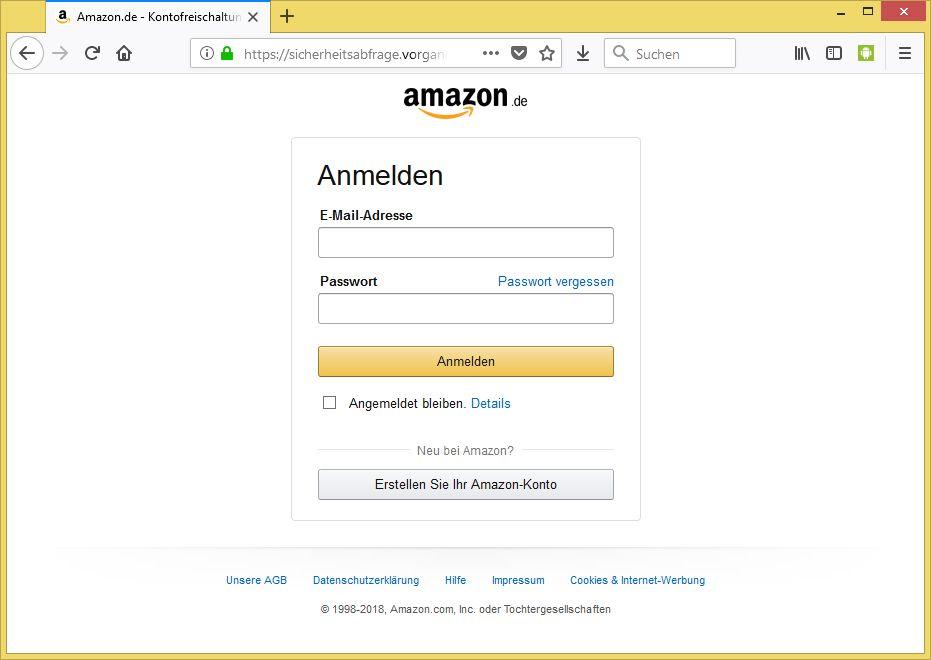 Amazon Sicherheitsabfrage