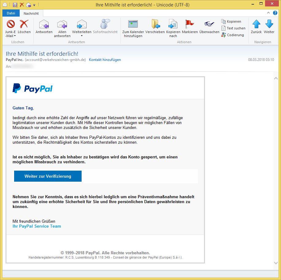 paypal inc ihre mithilfe ist erforderlich