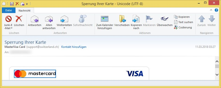 sperrung ihrer karte von mastervisa card support ist phishing vorsicht e mail. Black Bedroom Furniture Sets. Home Design Ideas
