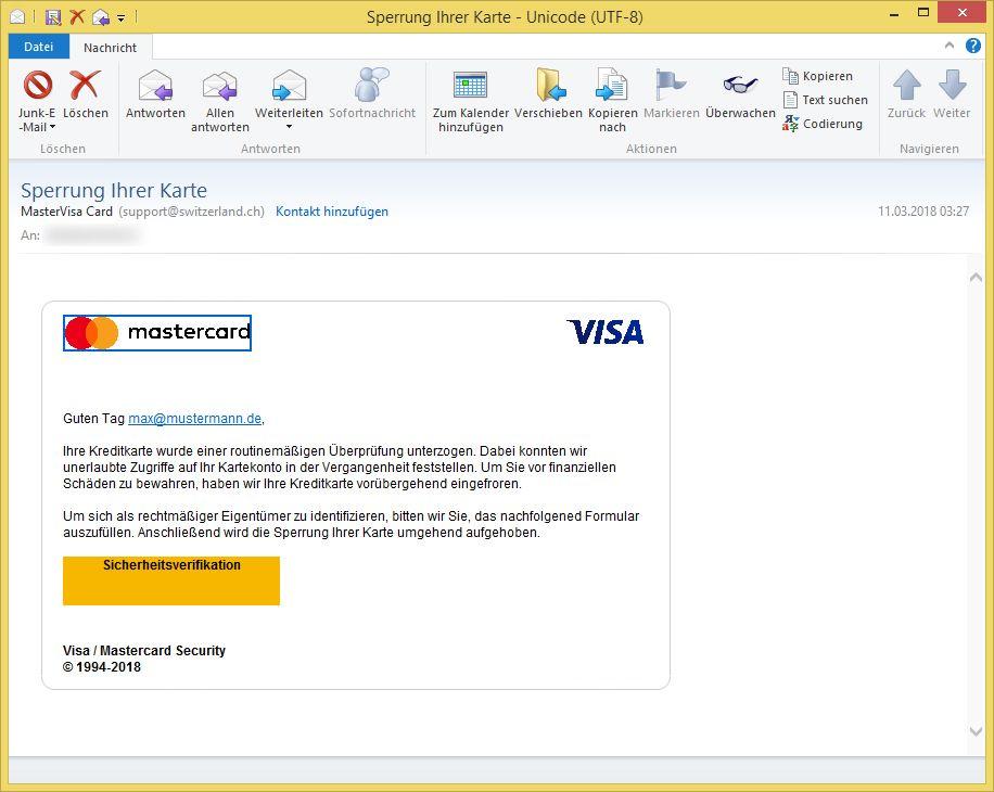 sperrung ihrer karte von mastervisa card support ist phishing vorsicht e mail. Black Bedroom Furniture Sets. Home Design Ideas