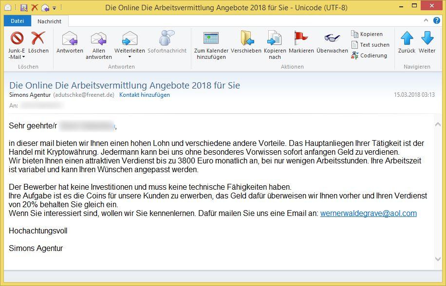 betrügerisches Stellenangebot: Die Online Die Arbeitsvermittlung ...