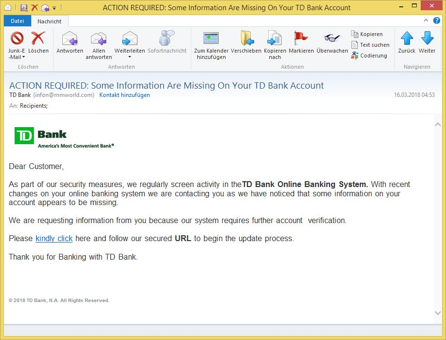 Action Required Some Information Are Missing On Your Td Bank