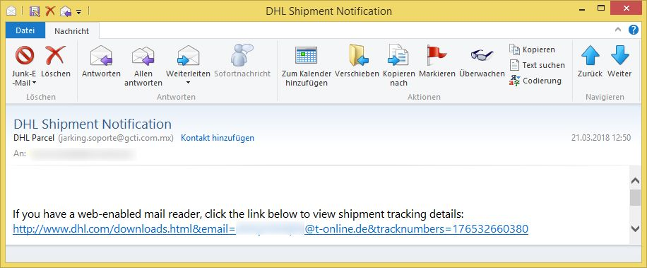 dhl shipment notification von dhl parcel l dt die b sartige. Black Bedroom Furniture Sets. Home Design Ideas