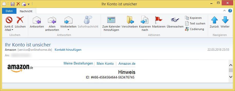 Ihr Konto Ist Unsicher Von Amazon Service Onlinehome De