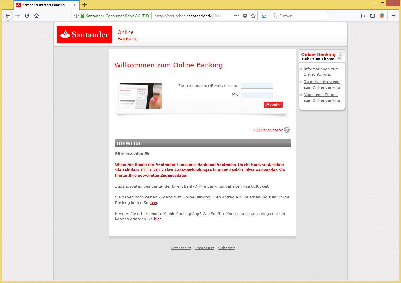 Www Santander Consumer Bank Online Banking