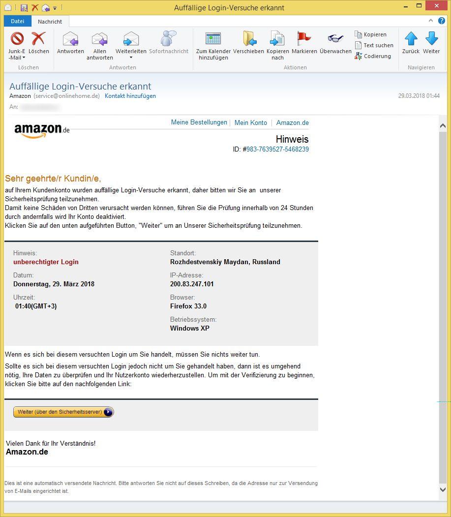 Amazon Sicherheitsprüfung