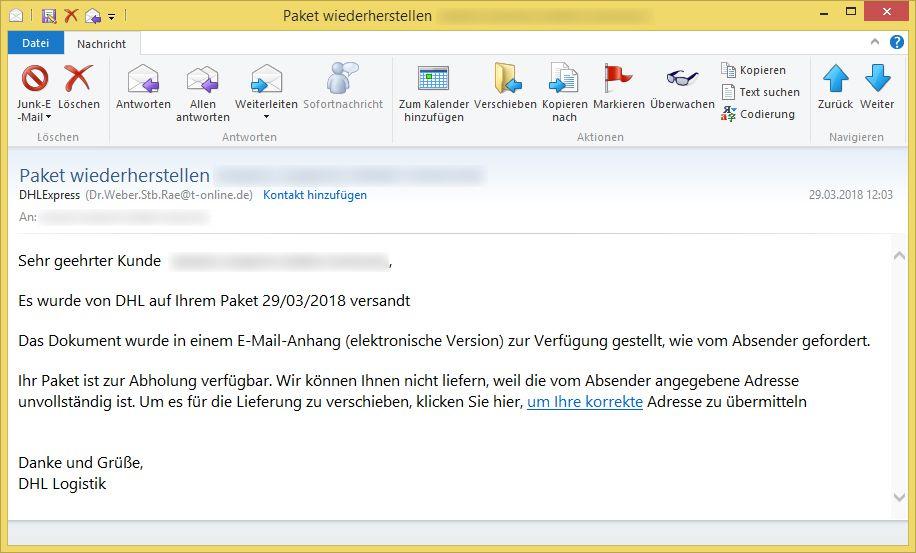 Paket wiederherstellen (E-Mail-Adresse) von DHLExpress (Dr