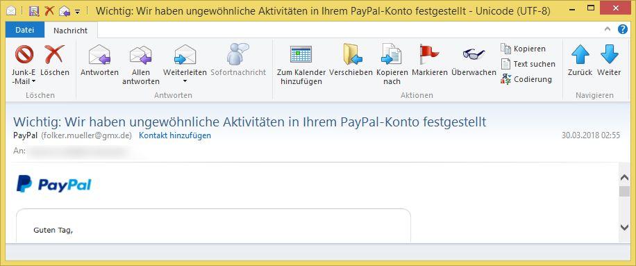 Ungewöhnliche Aktivitäten Paypal
