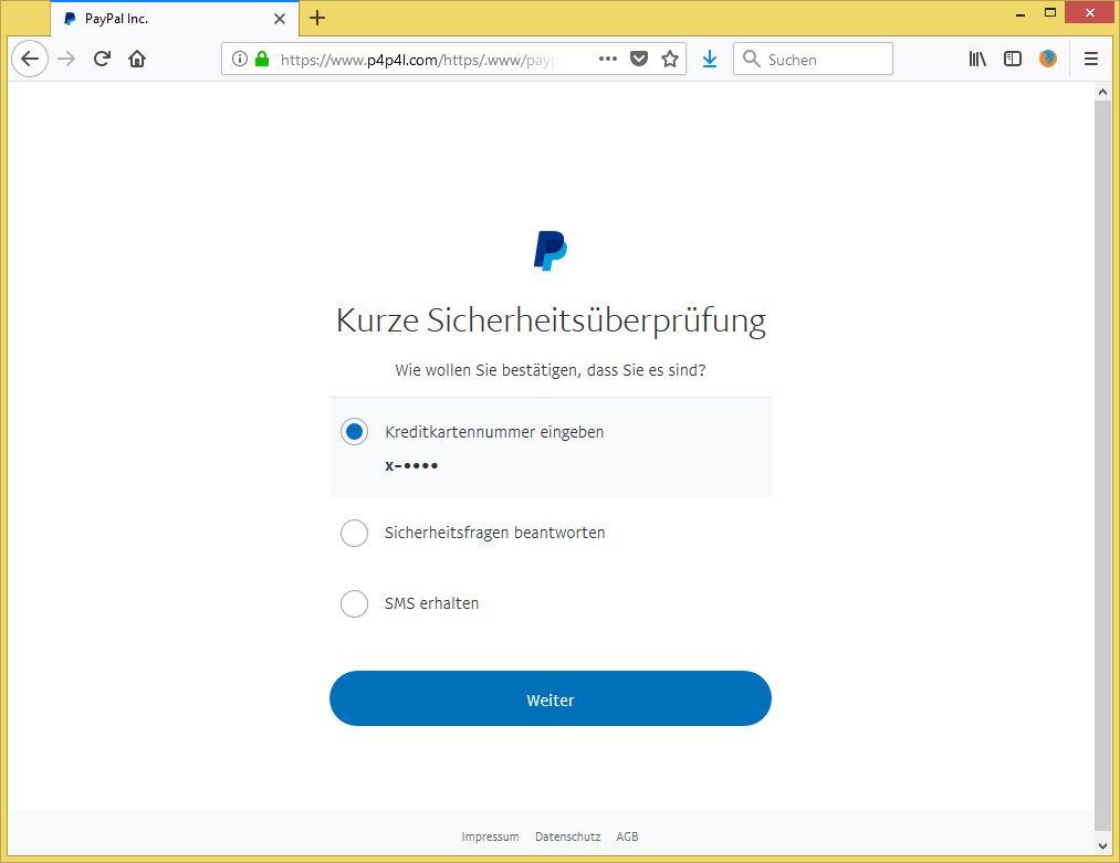 Paypal Sicherheitsüberprüfung