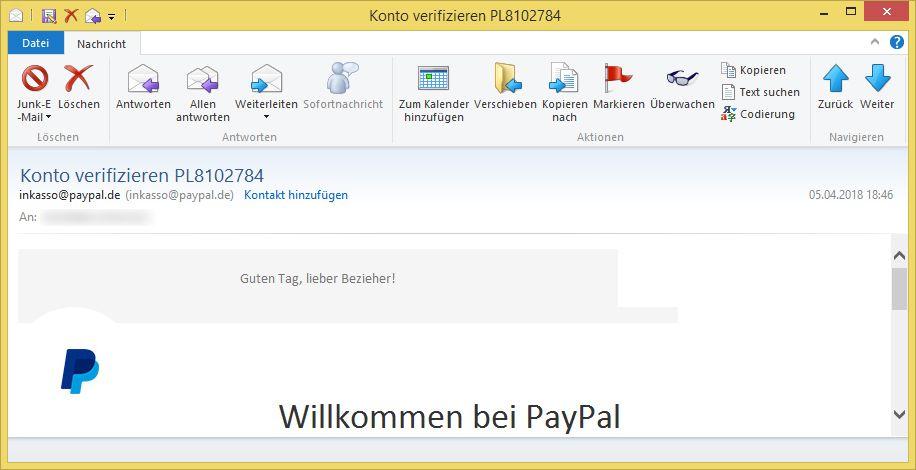 Email Paypal Konto Eingeschränkt
