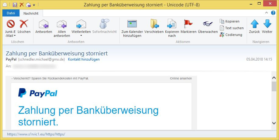 zahlung per bank berweisung storniert von paypal ist phishing. Black Bedroom Furniture Sets. Home Design Ideas