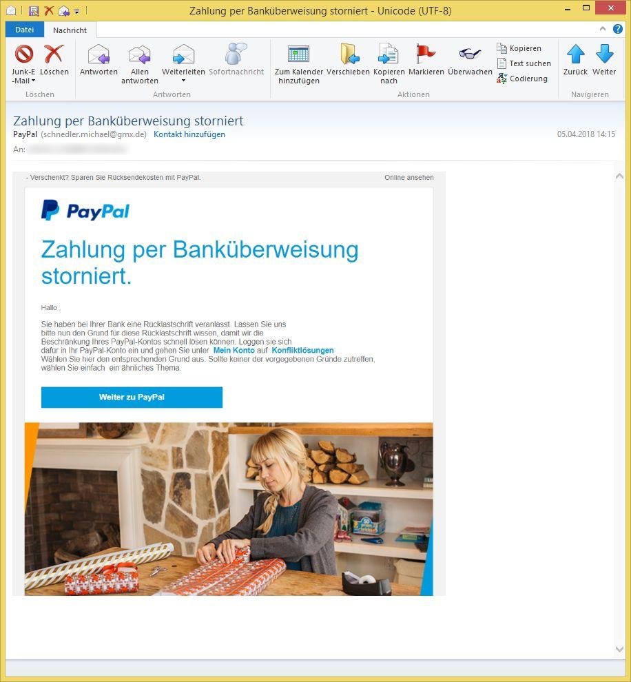 zahlung per bank berweisung storniert von paypal ist phishing. Black Bedroom Furniture Sets. Home Design Ideas