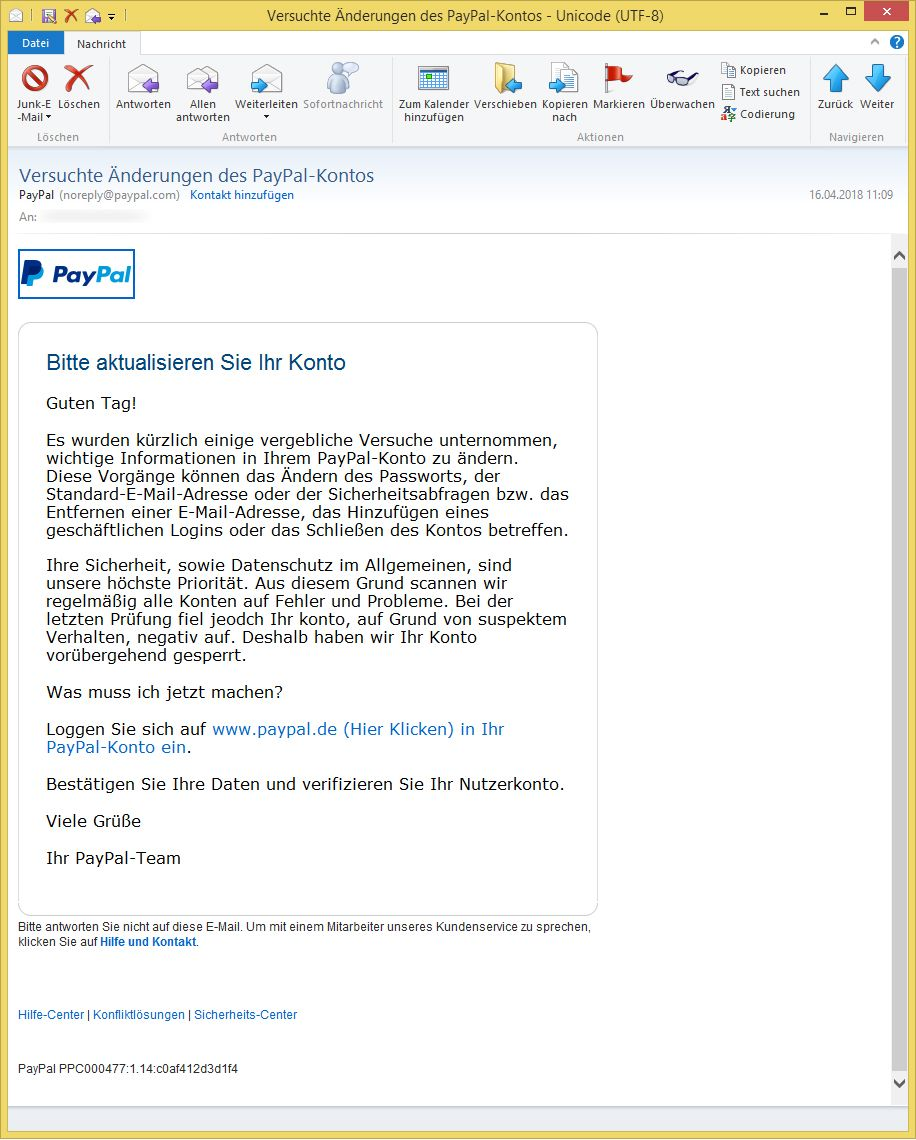 versuchte nderungen des paypal kontos von paypal noreply ist phishing vorsicht. Black Bedroom Furniture Sets. Home Design Ideas