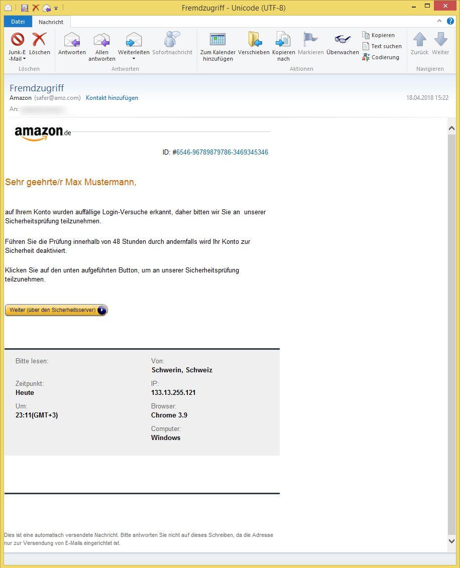 Fremdzugriff Von Amazon Safer Amz Com Ist Phishing