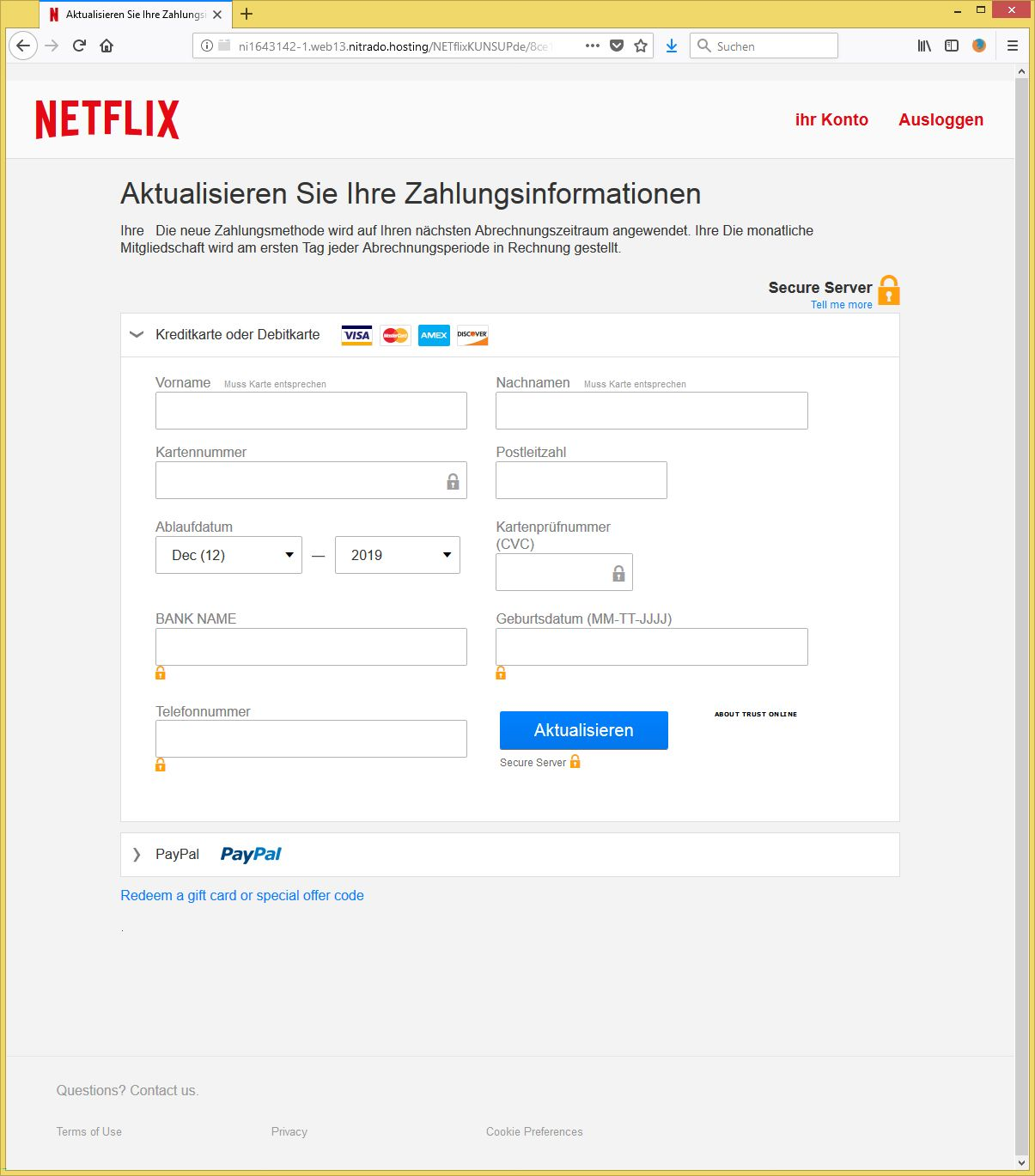 Zahlungsmethoden Netflix