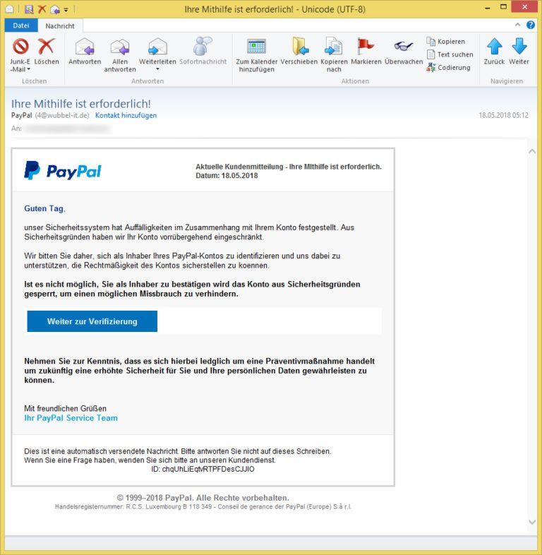 Ihre Mithilfe ist erforderlich! von PayPal (4@wubbel-it.de
