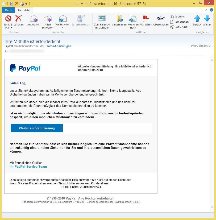 Paypal Ihr Handeln Ist Erforderlich
